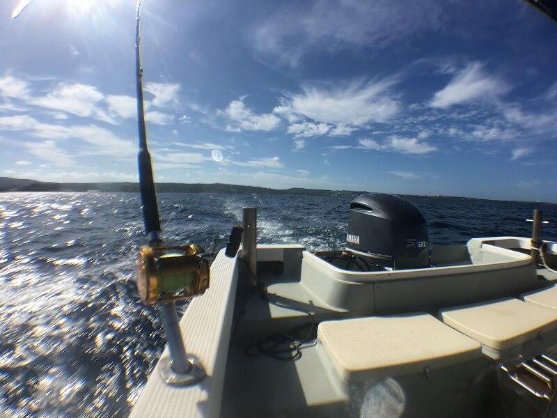 トローリングで魚を釣るため船を走らせている