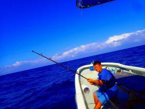 大きい魚が竿をひいています