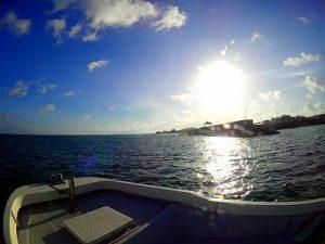 早朝にボートで青の洞窟