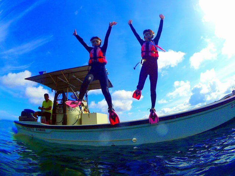 毎日5組限定!青の洞窟ボートシュノーケリング&パラセーリング3