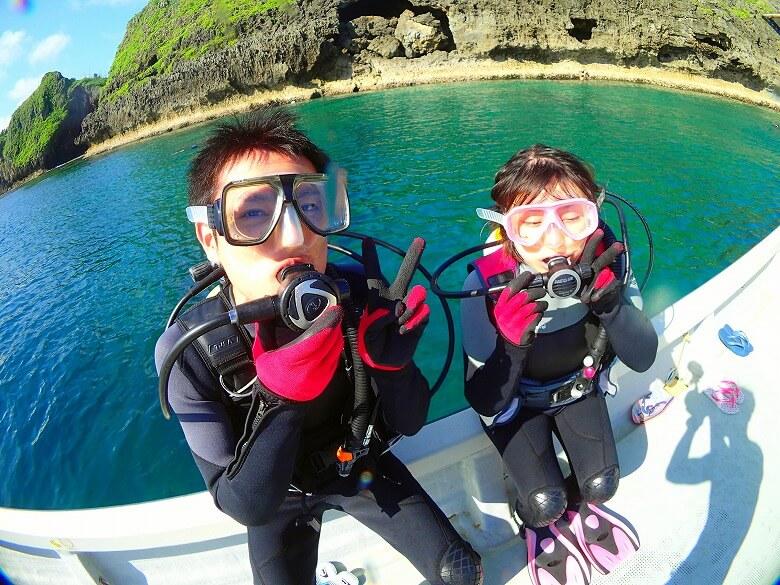 貸し切り船でグルクン釣り&ボートで青の洞窟体験ダイビング3