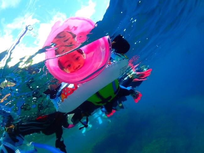 子供も安心です。潜水士同行のシュノーケル体験