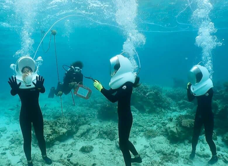 初めて参加でも気軽に水中体験できます。