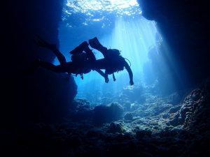 青の洞窟をカップルで楽しむ様子